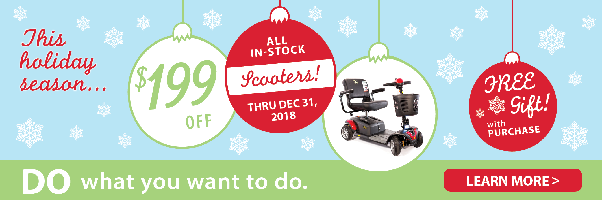 $199 off all in-stock scooters through Dec. 31, 2018!