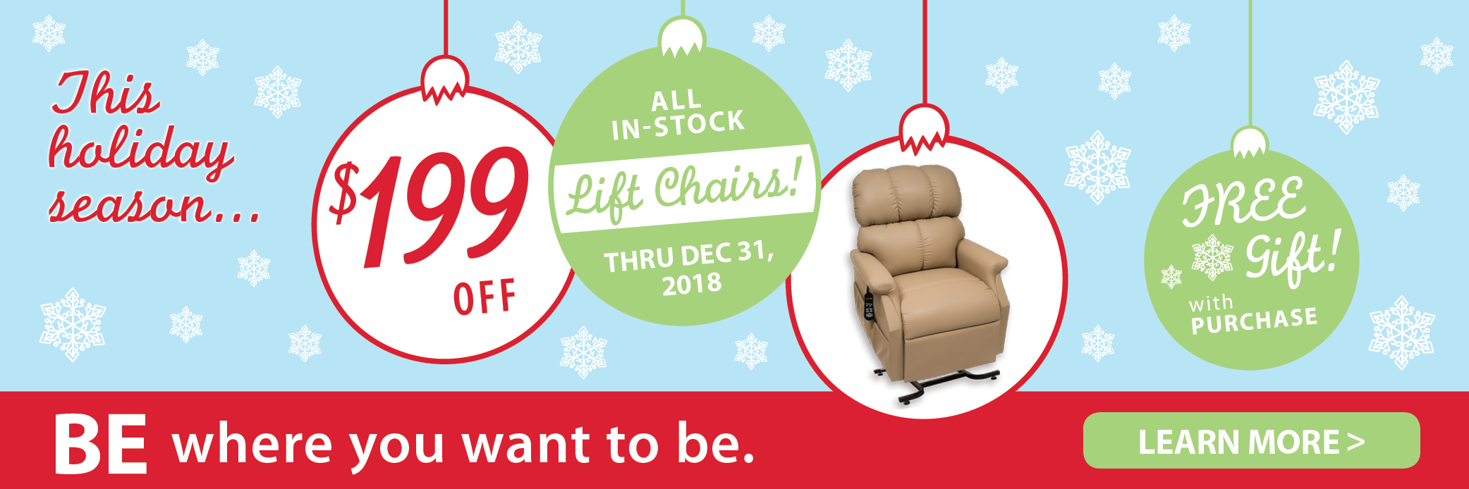 $199 off all in-stock lift chairs through Dec. 31, 2018!
