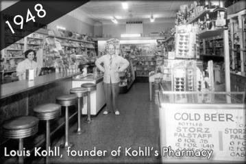 Photo of Louis Kohll, the founder of Kohll's Pharmacy, inside a Kohll's Pharmacy store in 1948.