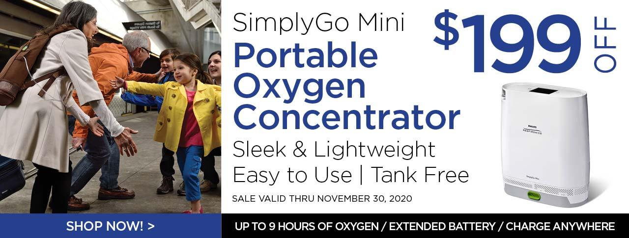 Save $199 off the SimplyGo Mini Portable Oxygen Concentrator through November 30, 2020!
